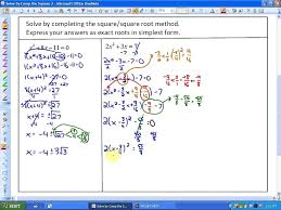 4 3 part 2 solving quadratic equations by completing the square square root method
