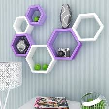 Purple Floating Shelves Inspiration DecorNation Set Of 32 Hexagon Shelves Purple And White Deewar Par