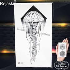 Rejaski маленький черный эскиз медузы татуировки детские наклейки на руку девушки