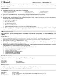 Resume Template Resume Format For Experienced Production Engineers
