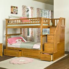 bedroom: Colorful Curtain Closed Glass Window Right For Fun Bunk Beds With  Simple Wood Stair