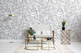 Face Line Drawing Wallpaper Mural ...