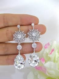 clear white crystal bridal earrings wedding jewelry swarovski crystal teardrops earrings fl styal earrings chandelier earrings e123