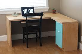 l shape modern plywood desk