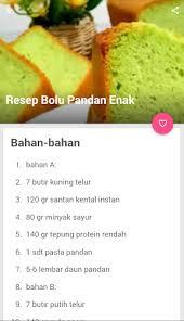2 sdm air daun suji; Resep Kue Bolu Pandan Latest Version For Android Download Apk