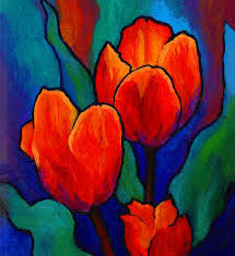 the painting of tulips is an art of abstract flower painting the painting has been done on a canvas and the picture is showing the fresh orange shade of