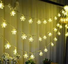 JKLcom Snowflake String Lights Battery Operated Fairy Christmas Decoration for Wedding Amazon.com :