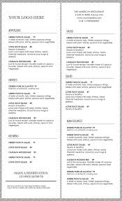 Free Restaurant Menu Templates Microsoft Word Leon Escapers Co With