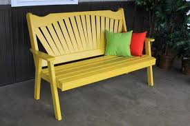 yellow pine fan back bench from