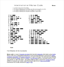 Morse Code Letter Chart 10 Free Download Morse Code Chart Templates In Word Free