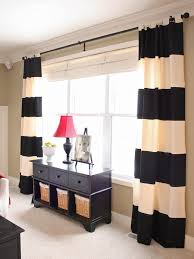 Decorations:Beautiful Black And White Stripped Curtain For Home Interior  With Black Shelves Under Red