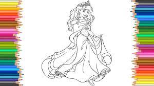 Ariel Disney Princess Coloring Page l Coloring Markers Videos For ...
