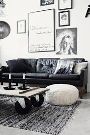 white room with black furniture. Industrial Style Living Room With Black Leather Sofa White Furniture