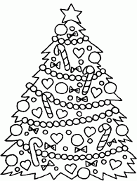 Tree Coloring Pages Christmas Tree With Decoration Beautiful New