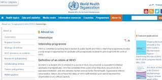 World Health Organization Internship For International Students 2017