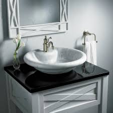 Bathroom Sink Bowls With Vanity  Inspiring Remodeling Idea With  Small White Designed Sink Bowls On Top Of Vanity O5