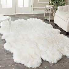 high tech big white fluffy rug area
