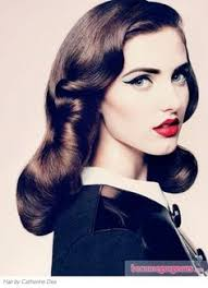40s hair style soft 40 39 s curl 39 s red lips dark heavy eye makeup