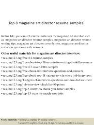 Top 8 Magazine Art Director Resume Samples