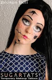 broken doll temporary costume tattoos makeup 2016