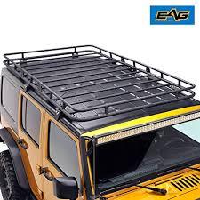 eag full length roof rack cargo basket for 07 17 jeep wrangler jk 4 door