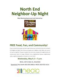 may s north end neighbor up night sponsored by the olive garden