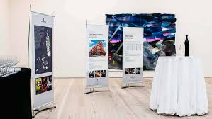 Artistic Displays Banner Stands Classy Pull Up Banner Displays For Gallery Exhibition Spaces