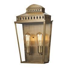 Large Outdoor Wall Lights 2 Light Large Outdoor Wall Lantern Brass Ip44