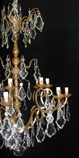 ch96 antique italian cut crystal and carved giltwood 10 light chandelier