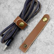details about handy leather headphone earphone cable tie cord organizer wrap winder brown