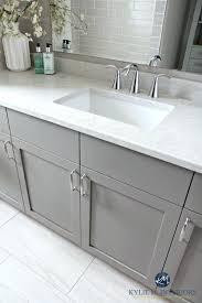 gray bathroom vanity. Gray Bathroom Vanity Painted Metropolis Drift Quartz Faucet And Porcelain Tile Flooring By