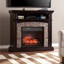 w faux stone corner infrared electric media fireplace in ebony