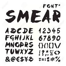 smear hand painted font for seasonal posters or other works on white background stock vector