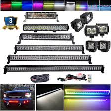 50 Inch Light Bar Halo Us 99 99 3 4 14 20 22 32 42 50 52 Inch Rgb Chasing Halo Led Light Bar Offroad Work Light Multi Color For Jeep Boat Car Truck 4x4 Suv Atv In Light