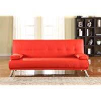 red sofa bed.  Bed Comfy Living Large Stunning Italian Designer Faux Leather 3 Seater Sofa Bed  Futon In RED With Red E