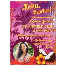 Hawaiian Pool Party Invitations 21st Birthday Party Invitation Photo Hawaiian Luau