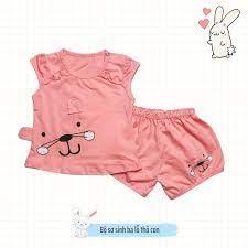 Đồ sơ sinh bộ sơ sinh 0-14 tháng bé gái ba lỗ thoáng mát thấm hút mồ hôi  100% cotton đáng yêu hình thỏ con Kidcat shop chính hãng 89,000đ