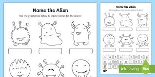 Esl phonics & phonetics worksheets for kids download esl kids worksheets below, designed to these worksheets can be used in conjunction with the videos and quizzes of this website. Phase 2 Phonics Name The Alien Worksheet Worksheet