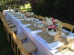 diy rustic wood table runner outdoor long garden wedding dining table with white fabric cov on