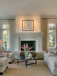 fireplace lighting. contemporary living room idea in seattle with a standard fireplace lighting