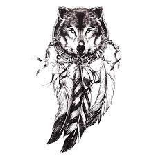 1 шт эскиз черные татуировки наклейки женщины мужчины 3d боди арт волк ловец снов