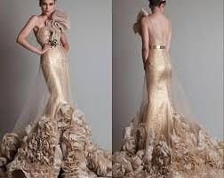 gold wedding dress etsy