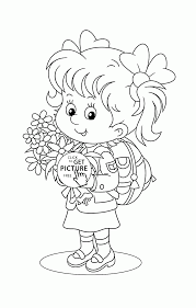 Small Picture Schoolgirl First Day of School coloring page for kids back to