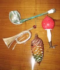 4 Teile Alter Christbaumschmuck Pfeifepilztrompetezapfen