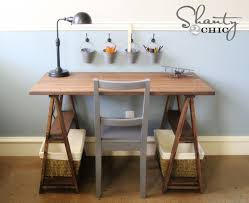 sawhouse trestle desk plan from ana white