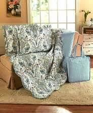 King Size Quilt & Shams St Lucia Paisley | eBay & 4-Pc Blue Paisley King Size Quilt Set 2 Pillow Shams & Tote Bag Bedroom Adamdwight.com