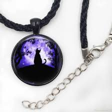 whole cat necklace glass tile necklace moon jewelry moon necklace black cat pendant jewelry girls glass cabochon gold pendant necklace heart pendant