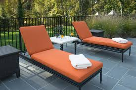 amazing design of the orange fabric pool lounge chairs with white side table ideas