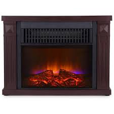 Global Air Mini Room Infrared Quartz Fireplace In Dark Walnut Mini Fireplace