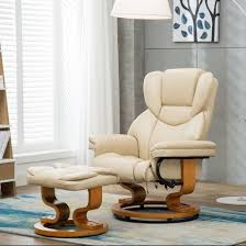 milano bonded leather swivel recliner chair with heat massage and stool cream